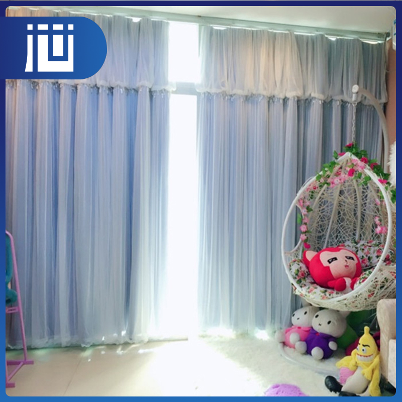 Factory price purple color made to measure custom lace curtains for home decorate