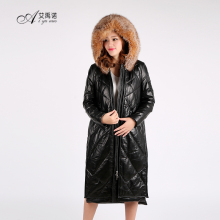 High Quality New Design Sheep Skin Long Overcoat Hooded Red Fox Fur Coat With Zipper Filling Duck Down Feather Women Down Dress