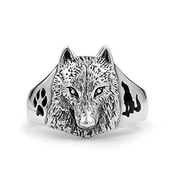 Sterling Silver Wolf Head Black Animal Paw Print Ring Enamel for Men