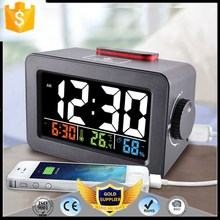 KH-0375 Phone Charge Jog Jumbo Battery Operated Calendar Display Words Melting White LED Alarm Glow Clock Numbers with USB Hub