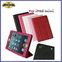 With 3 Folder Stand Leather Case for IPad Mini,PU Leather Holer Tablet Cover--Laudtec