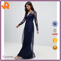 custom made blue mesh fashion dress long,high quality new design one piece dress