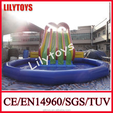 commercial grade inflatable water slide with big pool