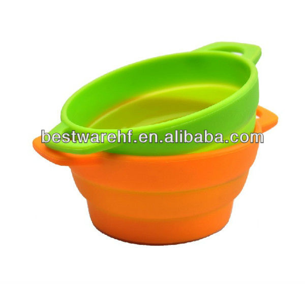 Unbreakable Silicone Foldable microwave use lunch Bowl silicone pet bowl