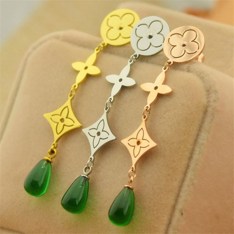 Casting jewelry 316 Stainless steel long earrings,nobleman green jade earring for lady,jade earrings