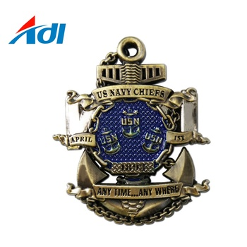 Custom Made Metal Alloy Navy Chief Challenge Coin