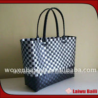 2014 100% handmade colorful shiny plastic fashion woven laptop bag