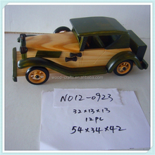 2015 shuanglong handicraft article children gift wholesale decorative kid hand carving painted unique wood car model