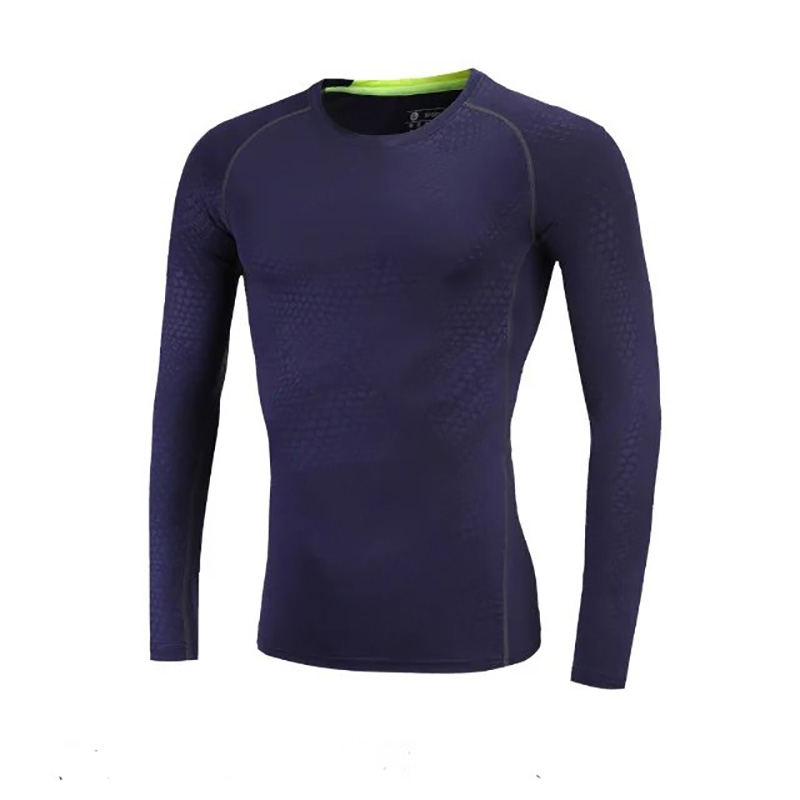 Compression bodybuilding under base layers basketball gym tights Men running t-shirt long sleeve