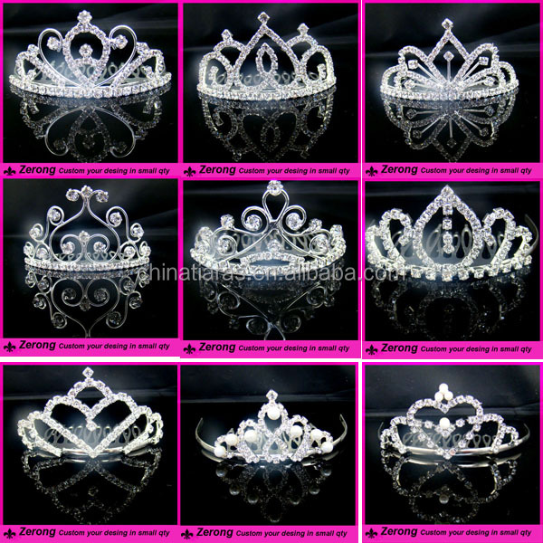 Wholesale prom shiny silver crystal bridal hair tiara accessories for women