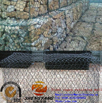 Control flood strong PVC coated reno rock cages hexagonal wire woven gabion mesh barrier wall stone cages for retaining wall
