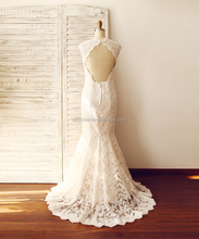 Mermaid Lace Keyhole Wedding Dress with cap sleeves / Champagne Lining