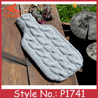 P1741 Hand knit hot water bottle cover cosy cable patter fancy knitted bottle cozy