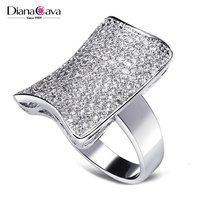 Latest Fashion Geometric Look Rectangle Pave Setting CZ Bridal Wedding Ring