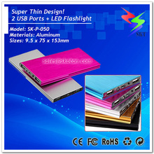 Super Thin High Capacity Aluminum Power Bank 10000mah 2 USB Ports LED Flashlight