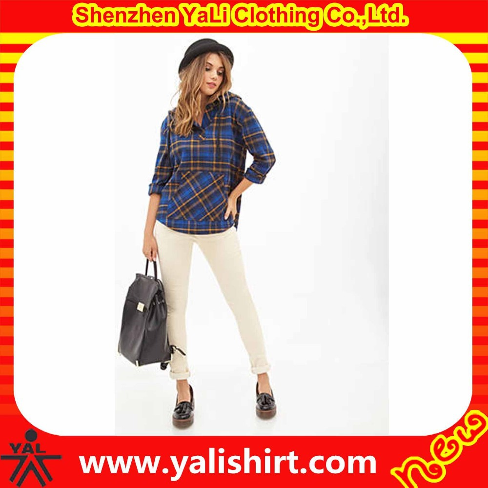 New style fashion high quality cotton loose casual plaid no button ladies kurta designs
