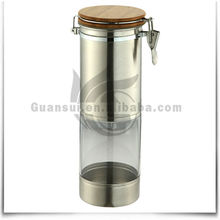 4-size stainless steel airtight glass jars with wooden lid