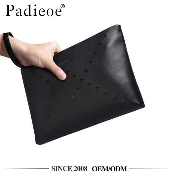 Padieoe PB160843 fashion top grain leather hand clutch purse for men