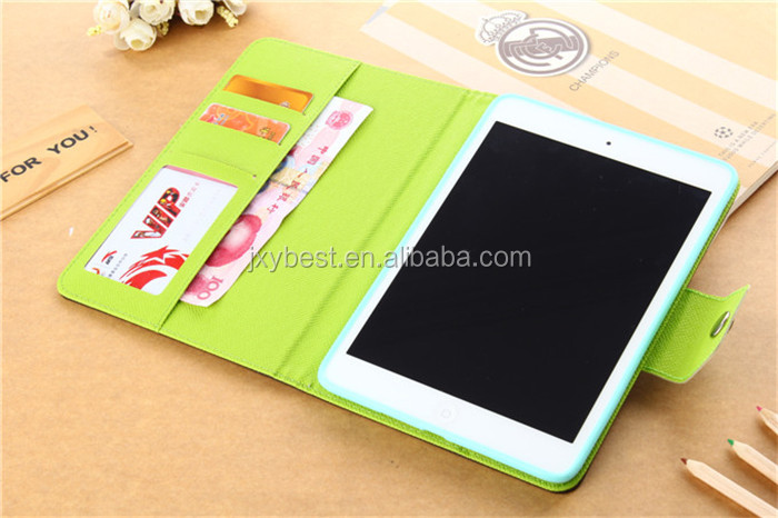 Top Quality Contrast Color leather flip wallet card holder smart cover case for ipad air ipad 5