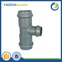 Taizhou factory PVC pipe fittings with rubber joint 6 inch grey pie reducing tee