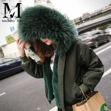 High Quality Rex Rabbit Fur Lining Jackets Large Detachable Raccoon Fur Hood Wholesale Bomber Jackets