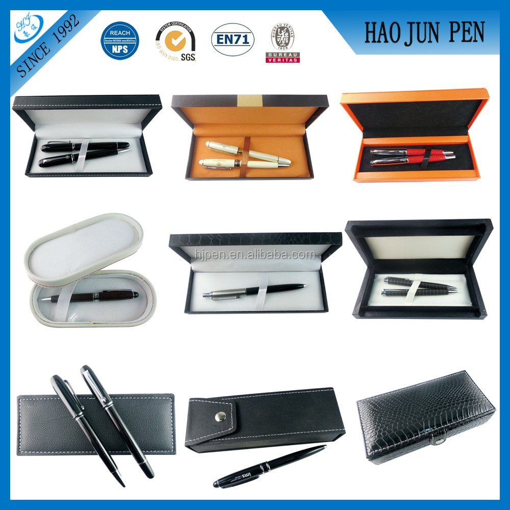 High Quality Plastic Wood Paper Leather Promotional Pen Box Best gift Set