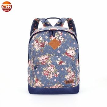 OEM Printing canvas backpacks for women girls School Bag Trendy women backpack
