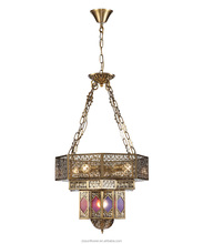 Moroccan hanging iron pendant light with 3 level of lamp body