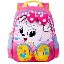 Soft Cartoon Bags Kids School Backpack with Bottle Holder for Girls