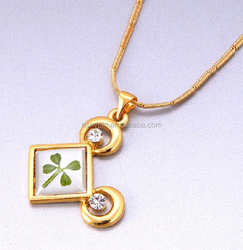 gold square shape with green four leaf clover logo/two circles/two crystal jewelry tag for necklace