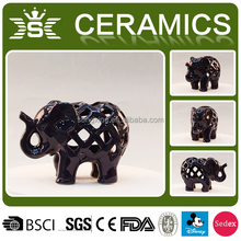 Hollow nero animale elefante <span class=keywords><strong>candela</strong></span> in ceramica vasi all'ingrosso