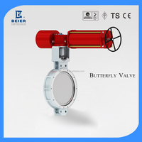 Penumatic High performance double eccentric soft seal flange/wafer type butterfly valve for outdoor