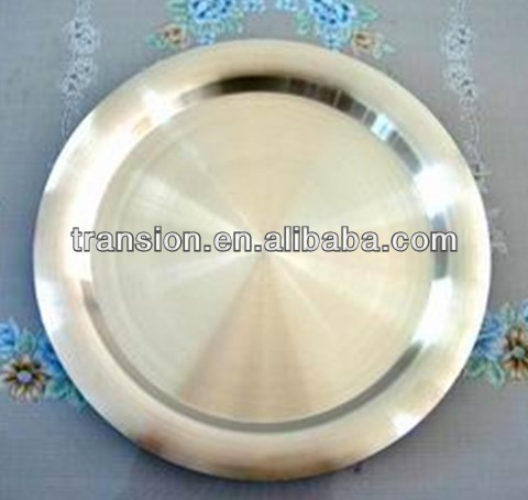 12'' stainless steel bar serving tray round SS430 FDA Pass