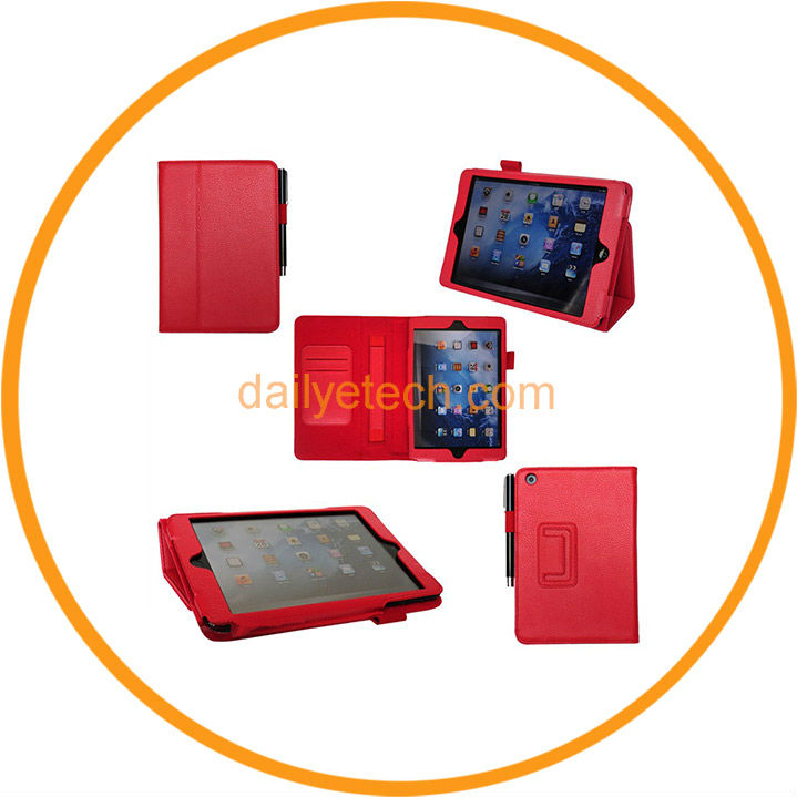 PU Leather Magnetic Smart Case Cover for iPad Mini with Stylus Holder Hand Strap Red from Dailyetech