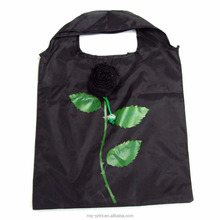 Rose style cheap nylon foldable shopping bag