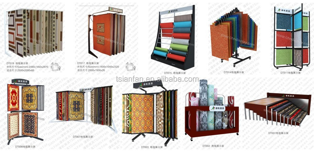 Showroom Standing Carpet Sample Displays Hanging Metal Rug Display Rack