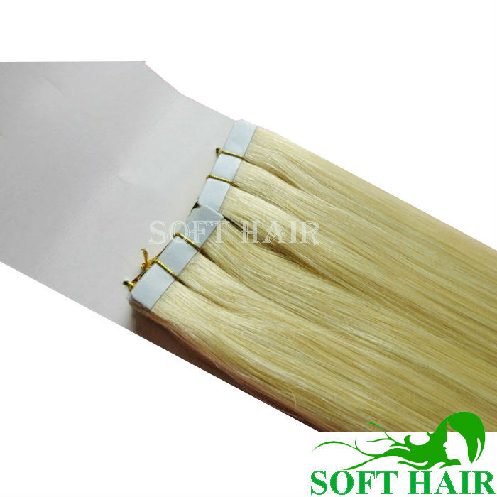 12A Top Quality Tape In Human Hair Extensions 613 Double Drawn Blonde Russian Hair Remy Cuticle Tape Hair Extension