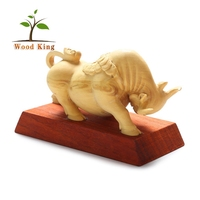 Boxwood Wooden Handicraft Wood Carving Office Desktop Lucky Cow Decoration Craft Supplies Handmade Lucky Craft Cow Sculpture