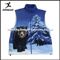 mountain biking army printing sport polar fleece casual vests for men
