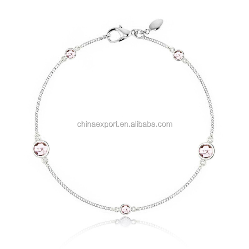 Yiwu lady jewelry welcome OEM ODM delicate glisten scattered glass charms clasp bracelet with beads