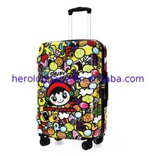Beautiful women customized 20 abs luggage trolley set with cartoon design printing