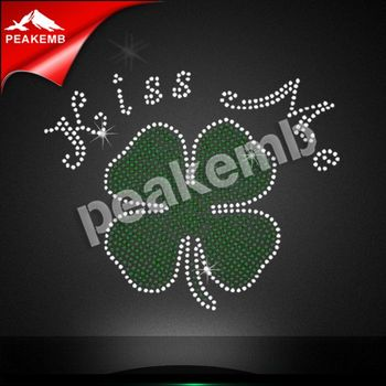Kiss me rhinestone wholesale four-leaf clover rhinestone transfer design