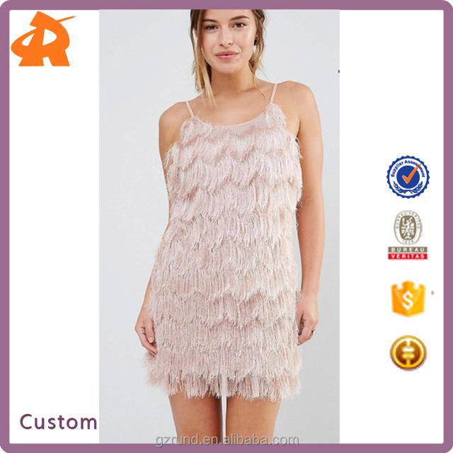 high fashion pajamas style design one piece off shoulder woman sexy dress, true decadence petite fringe layered cami mini dress