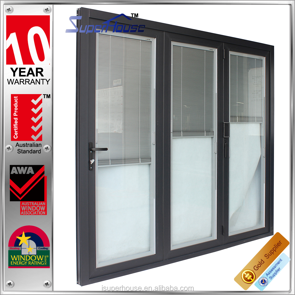 as2047 door double glass folding door inserts blinds/hinges folding sliding door