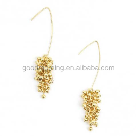 Gold beads Grapes Drop Hook Earring