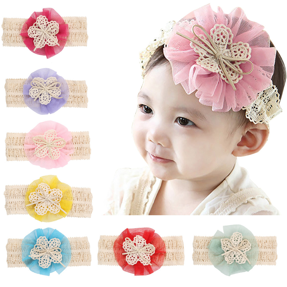 Head Band Guangdong Lace Flower Bowknot Headdresses For <strong>Hair</strong> Kids <strong>Accessories</strong>