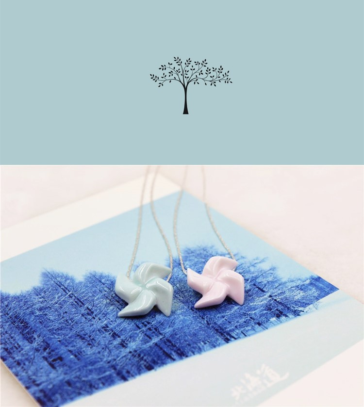 porcelain wholesale stainless windmill pendant hand-made fashional and cute necklace individual character custom necklace
