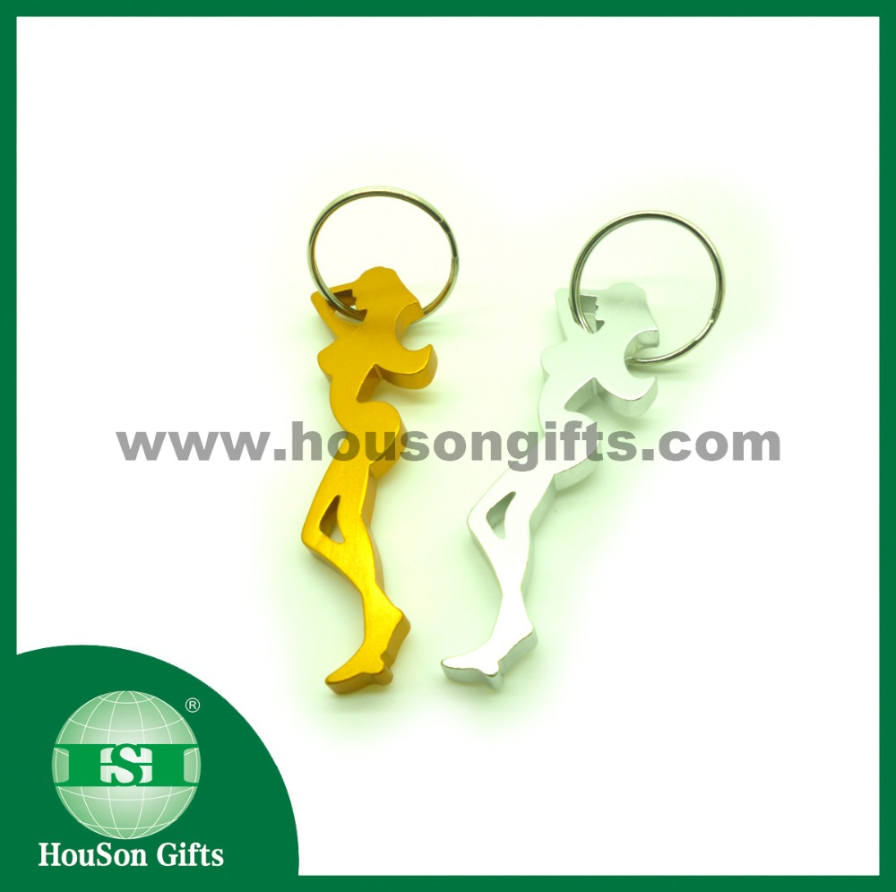 Free sample 73mm yellow lady shaped beer opener keychain beauty bottle opener