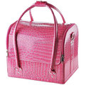 "AW Black/Pink 11x9x10"" Crocodile Makeup Cosmetic Train Bag Handbag Case w/ Removable Tray Jewelry Ring"