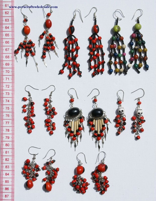 Dangle Drop Hand Made Earrings Red Tropical Seed Bead Huairuro Natural Tribal Peruvian Beaded Fashion Jewellery Wholesale